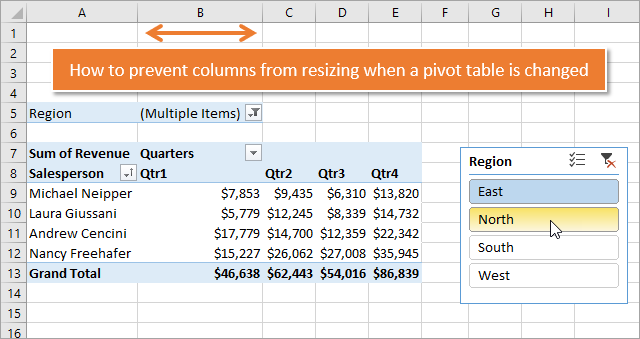 How to Prevent Columns from Resizing in Pivot Table