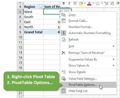 Excel Pivot Table Options Right-Click Menu