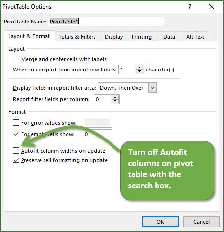 Turn off Autofit column widths on update on 2nd pivot table