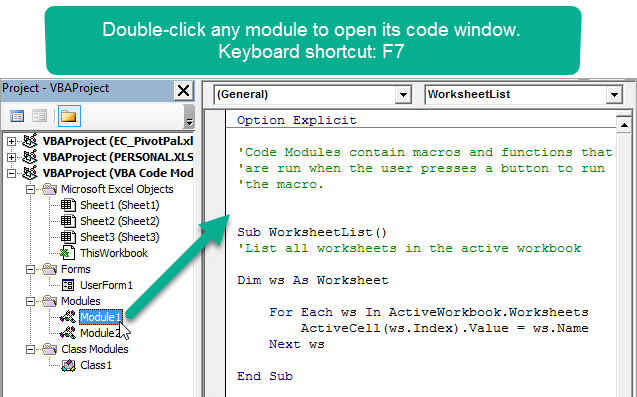 Double Click a Code Module to View Code Window in VBA Editor