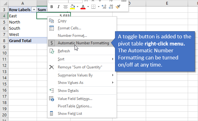 Automatic Number Formatting Pivot Table Right Click Menu Button