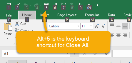 QAT Keyboard Shortcut to Close All Excel Files
