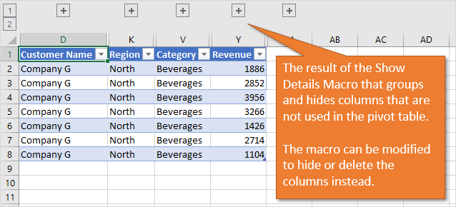 Show Details Macro Groups and Hides Fields Columns that are NOT used in the Pivot Table
