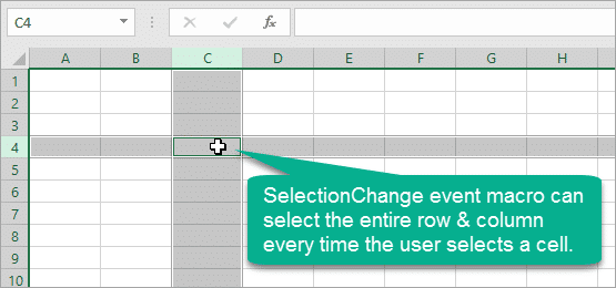 VBA Macro to Select Entire Row and Column On Cell or Range Selection - SelectionChange Event