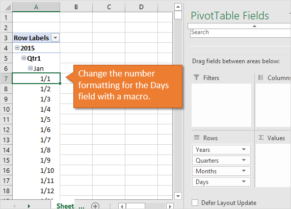 Change Number Formatting of Days Field in Pivot Table with a Macro VBA