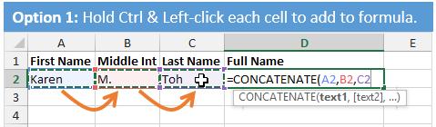 Create Concatenate Formula with Ctrl+Left-click Excel