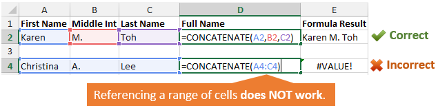 Concatenate Individual vs Range of Cells Formula Error Comparison
