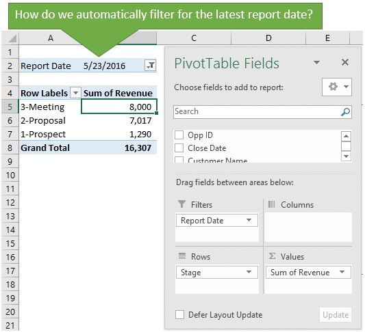 Pivot Table for Pipeline Revenue by Stage - Filter for Most Recent Period