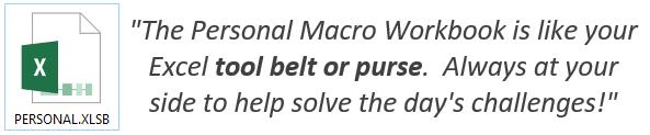 Excel Personal Macro Workbook Tool belt or Purse Quote