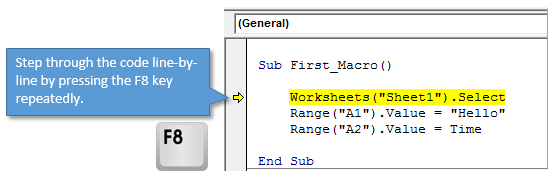 Step Through VBA Code with the F8 Key