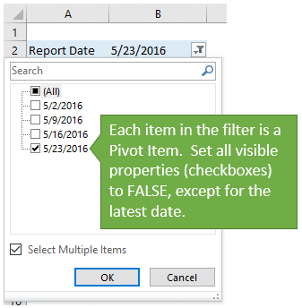 Pivot Items in the Filter Drop-down Menu of a Pivot Table