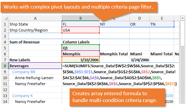 Convert Pivot Table to SUMIFS with Complex Layout Multiple Criteria Excel