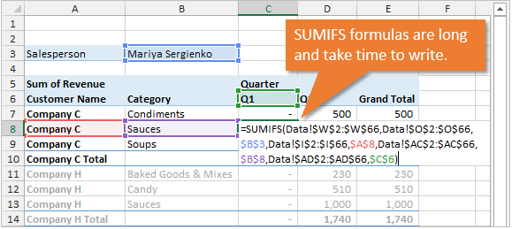 SUMIFS Formulas Long and Time Consuming Excel