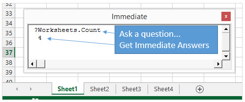 VBA Immediate Window Excel определяем количество листов через Worksheets.Count