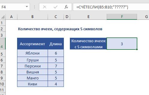 Количество ячеек, содержащих 5 символов