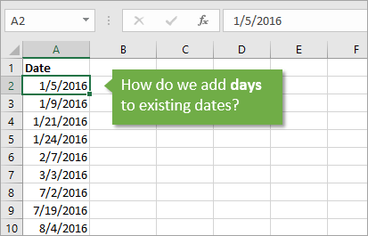 How to Add Days to Existing Dates in Excel