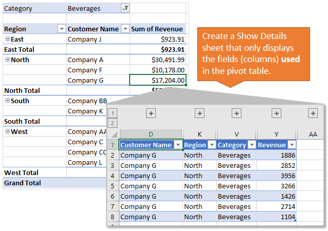 Create Show Details Sheet Only Displays Used Fields Columns of Pivot Table