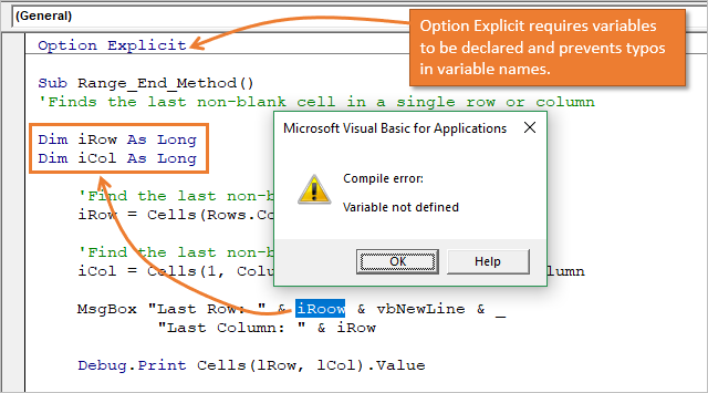 Option Explicit to Requires Variables Declaration and Prevent Typos