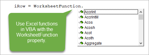 WorkSheetFunction Property for Excel Functions in VBA