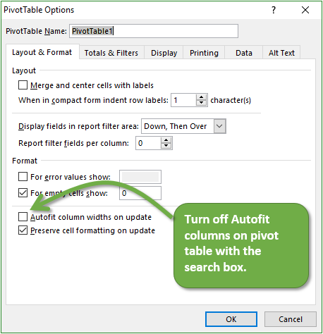 Turn off Autofit column widths on update on 2nd pivot table