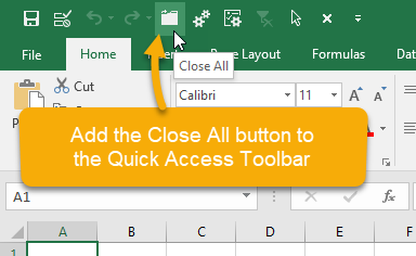 Excel Close All Button Quick Access Toolbar