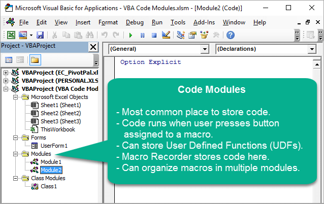 Overview of Code Module for VBA Macros in VB Editor1