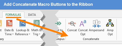 Add Concatenate Macro Buttons to the Ribbon