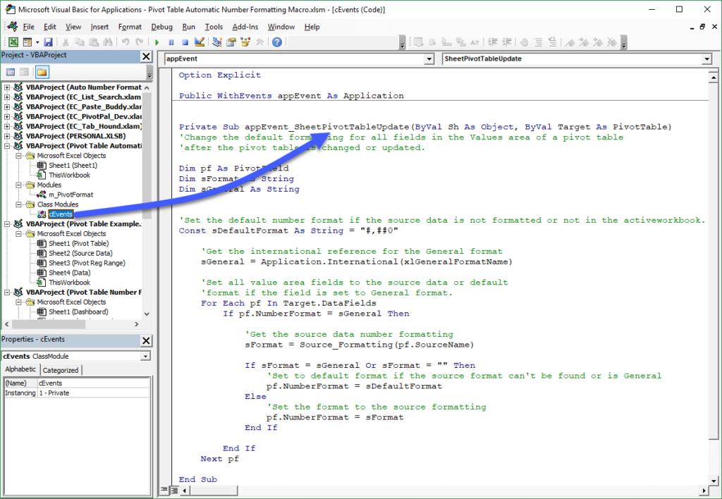 Class Module for PivotTableUpdate Auto Number Formatting App Event