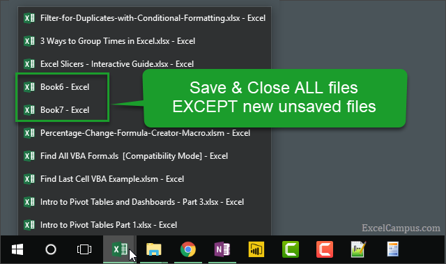 Macro to Save and Close All Files Except New Unsaved Files