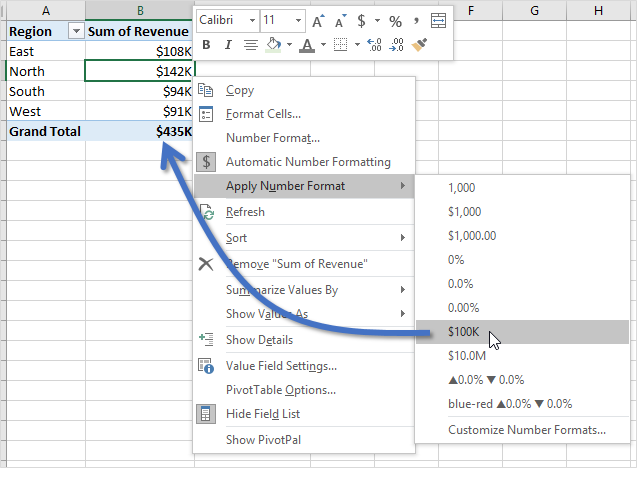 My Number Formats Pivot Table Right Click Menu