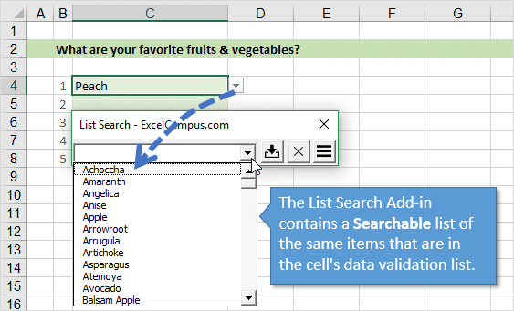 List Search Add-in Drop-down List Contains Data Validation List of Items