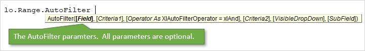 AutoFilter Parameters Optional Screentip in VB Editor VBA