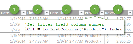 Use Variable for Filter Field Column Number in VBA with Index Property