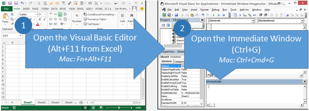 Как открыть Visual Basic Editor и Immediate Window в Excel и Mac