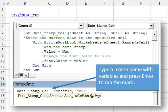 Запуск VBA Макроса из Immediate Window с использованием аргументов из Excel