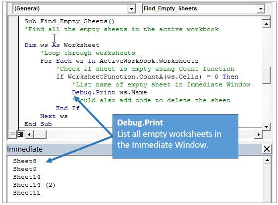 Пример работы Debug.Print в VBA Immediate Window