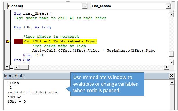 Excel Макрос вывода списка всех листов - вычисляем значение переменной в Immediate Window