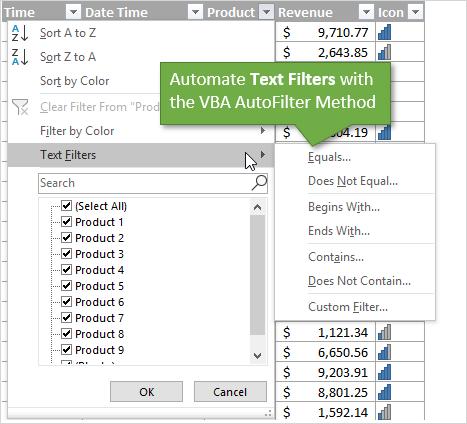 VBA AutoFilter Automate Text Filters
