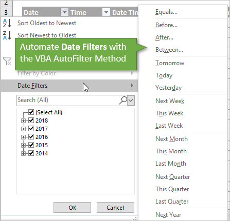 VBA AutoFilter Automate Date Filters