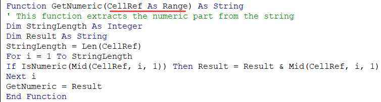 Argument defined as range in the user defined function