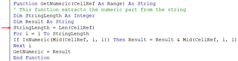 Assigning length of the string to a variable