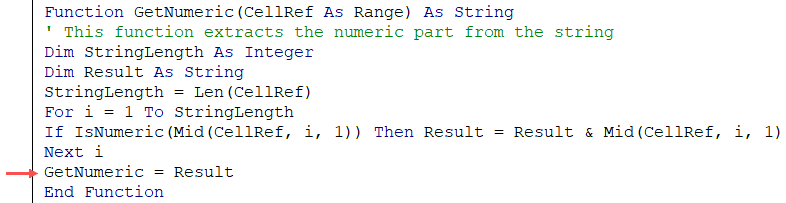 Assigning Result value to the custom function