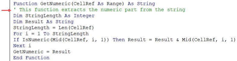 Comment in the User Defined Function in Excel VBA