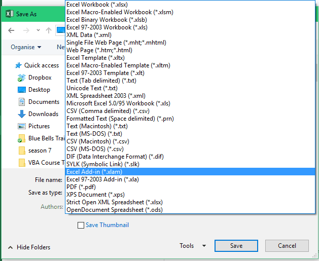 Create an Excel Add-in - Save as drop down
