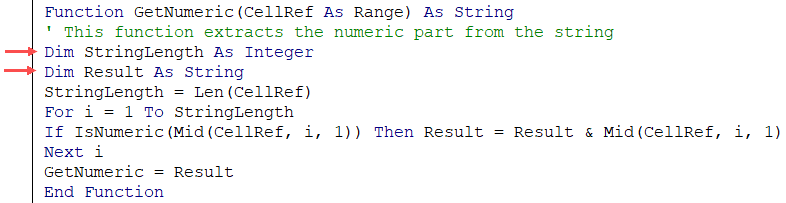 Declaring Variables in the UDF custom function in VBA