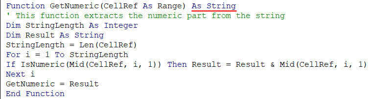 Defining the Function Output Data type in the custom function