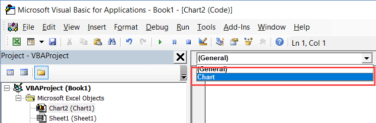 Excel VBA Events - Select Chart from the drop down