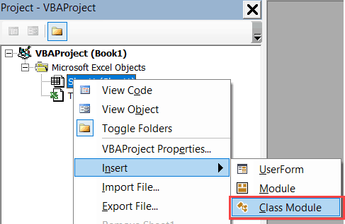 Inserting a Class Module in Excel