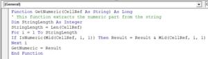 User Defined function in the module code window