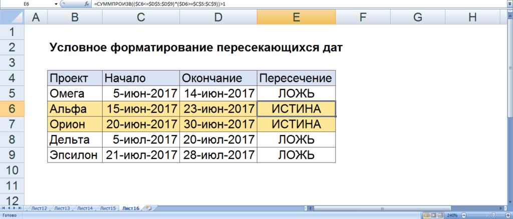 Условное форматирование пересекающихся дат
